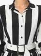 Network Çizgili Gömlek Elbise Siyah